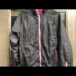 Danskin Now Black/Pink Full ZIP Windbreaker Jacket